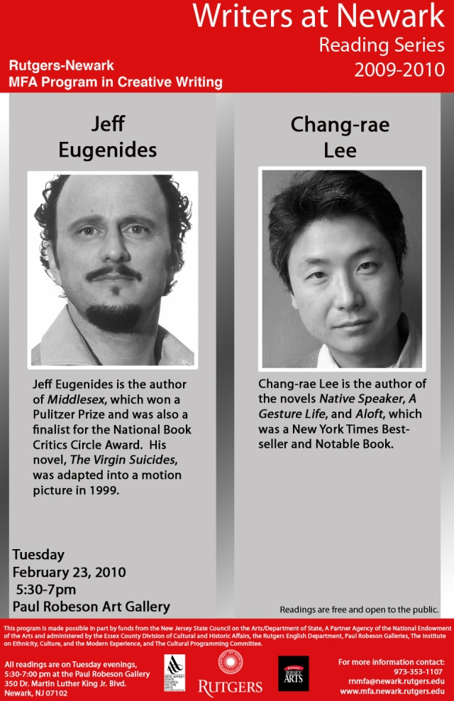 Poster for Eugenides and Chang-rae Lee
